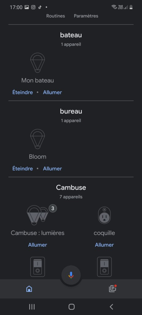 Application Google Home avec intégration de la lampe Bloom dans une pièce