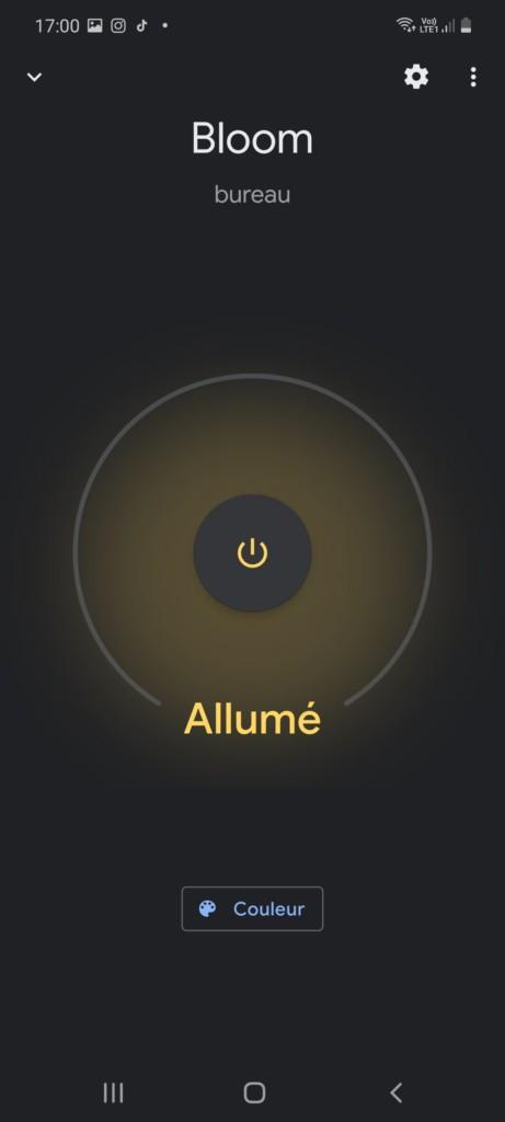 Application Google Home et fonction de la Lampe Philips Hue Bloom