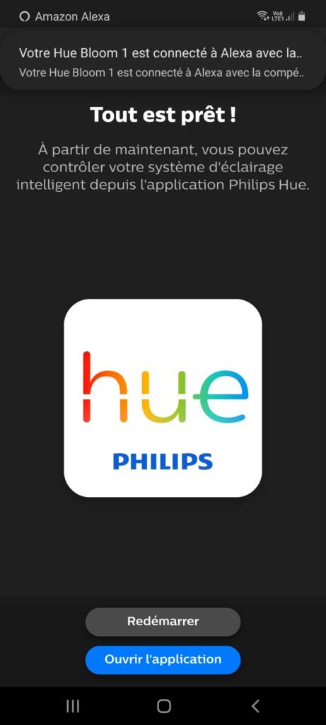 Page proposant l'ouverture de l'application Philips Hue