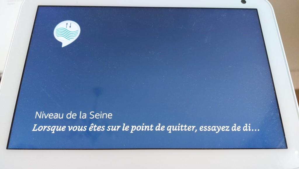 Ecran Echo Show avec affichage seulement de la skill Niveau de la Seine