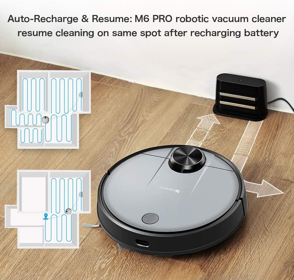 aspirateur robo Prosecenis M6 Pro ayant un laser pour la navigation et controlable vocalement par Alexa