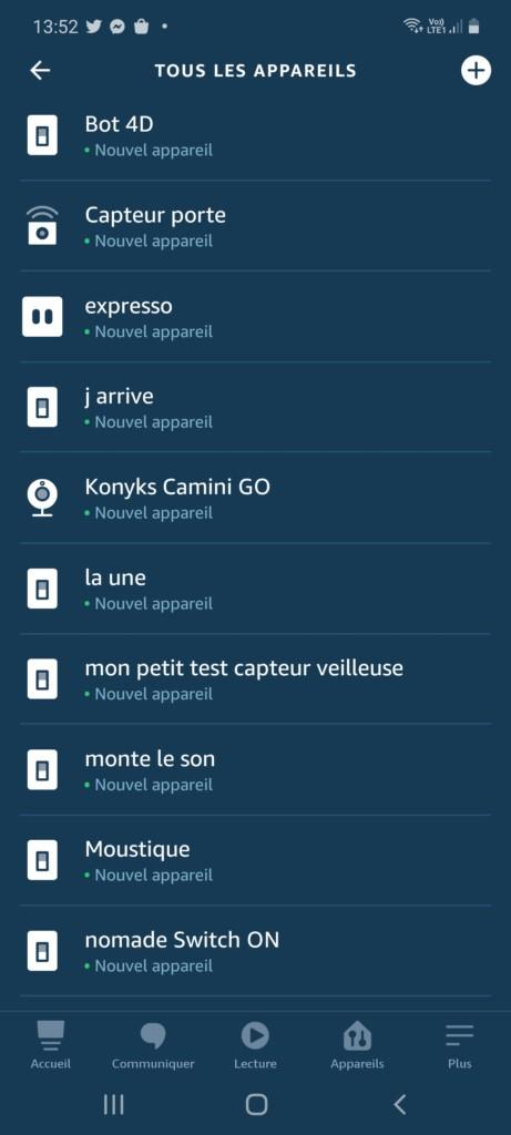 Application Alexa et enregistrement de la caméra Konyks Camini GO (1)