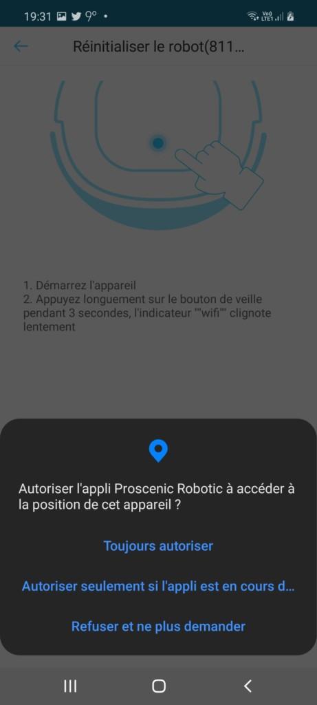 Application ProscenicHome pour l'aspirateur robot 850T