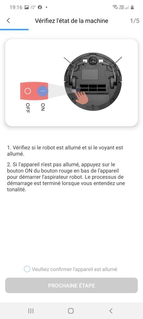 Début d'instruction pour appariement du robot asiprateur 850T