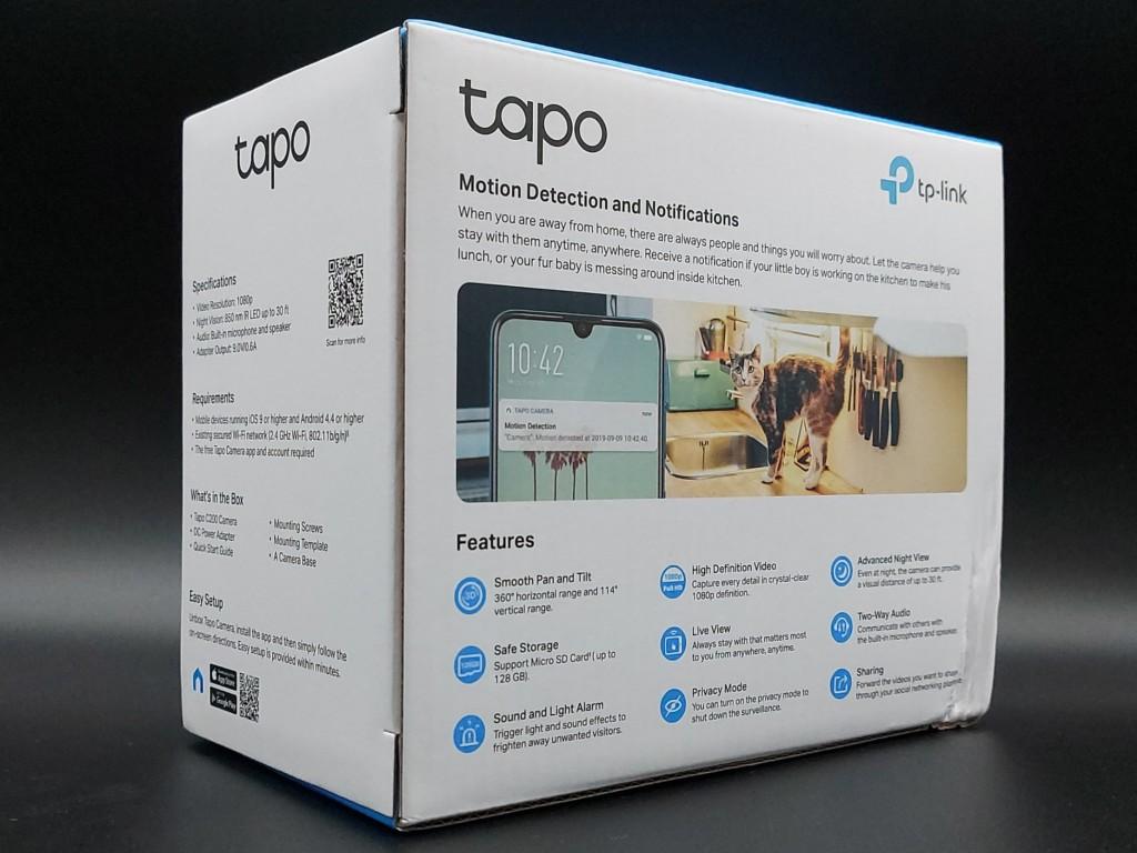 Dos du packaging caméra intérieur TP-Link Tapo C200