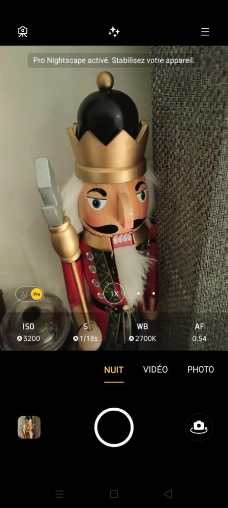 Mode pro de l'appareil photo du smartphone Realme X3