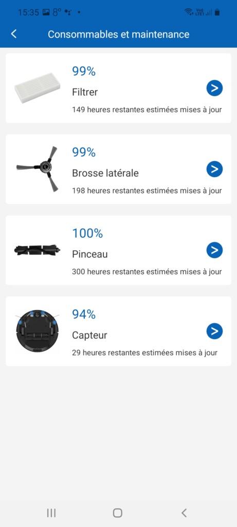 Page gestion des accessoires dans l'application ProscenicHome du 850T