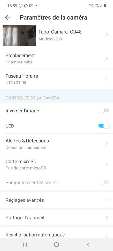 Page paramètres de l'application Tapo pour la caméra d'intérieur Tp-Link Tapo C200