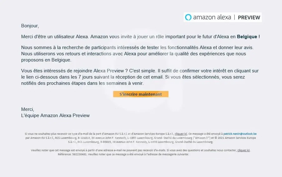 Invitation Preview Alexa en Belgique