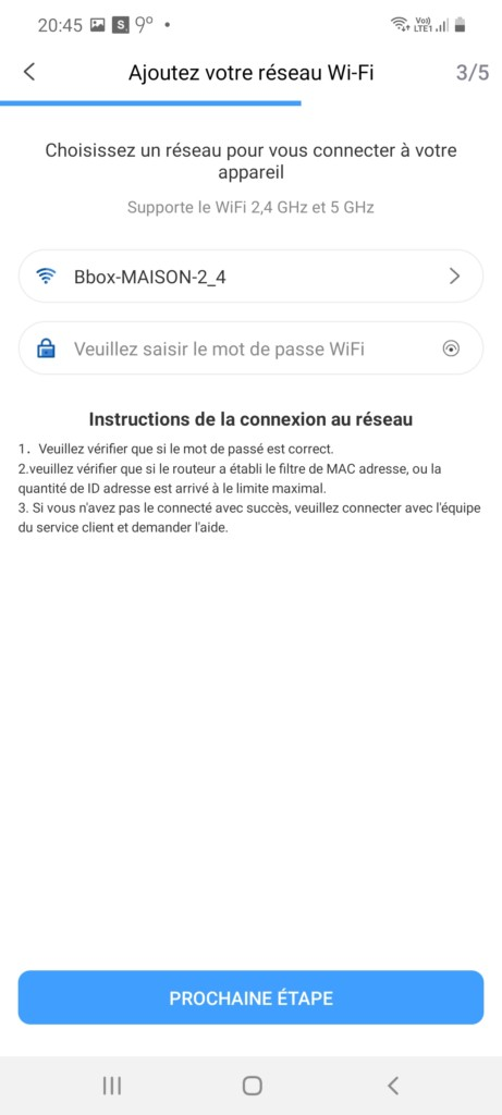 appairage au wifi maison pour le 850T
