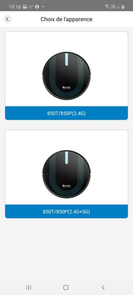 deux mode d'appairage pour l'aspi robot 850T soit en 2.4GHz soit en 5GHz