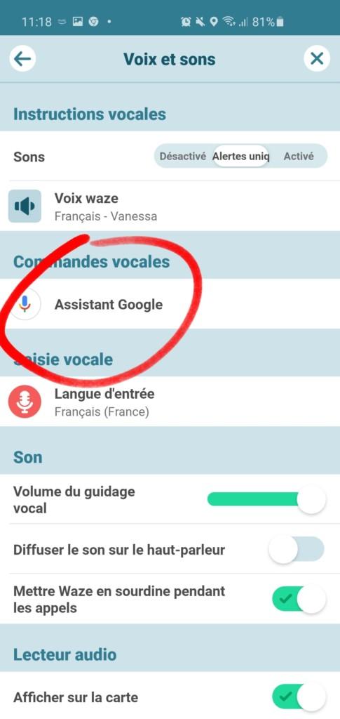Google Assistant sur Waze en français