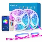 WiFi Ruban LED 20M Intelligent, Maxcio Bande LED 5050 RGB Compatible avec Alexa/Google Home, LED Ruban Musical Contrôlé par Smartphone, Synchroniser avec Rythme de Musique pour Noël et Fête(10M*2)