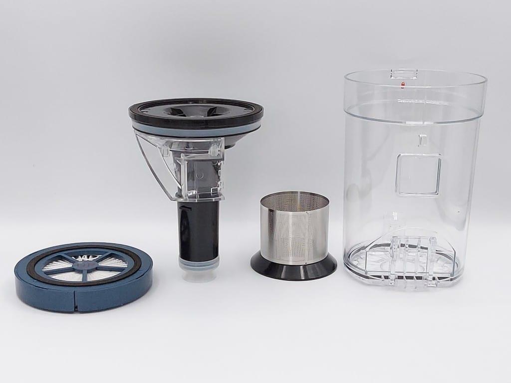 les différents filtres avec notamment le filtre HEPA du balai aspirateur Proscenic P10 Pro
