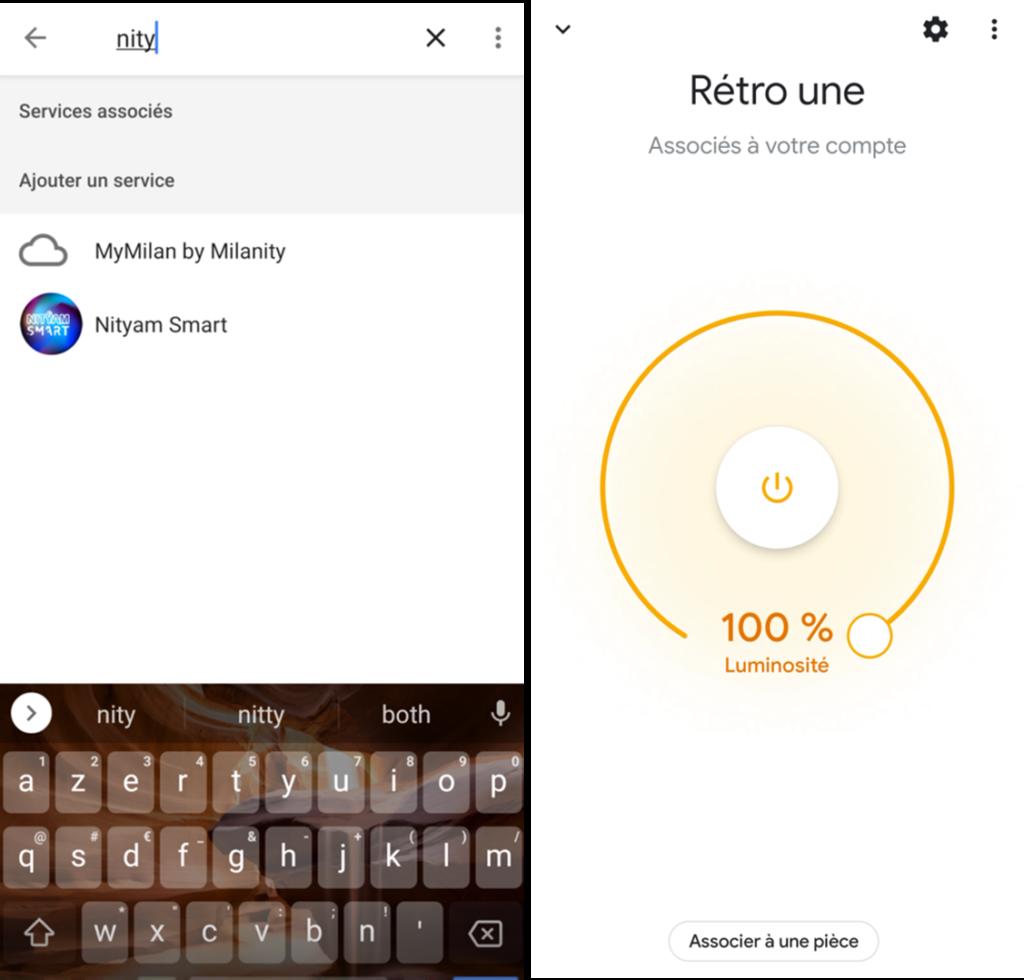 Application Google Home avec intégration de l'ampoule connectée rétro Nityam Smart