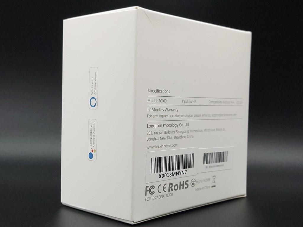 Face arrière du packaging de la caméra connectée intérieur Teckin