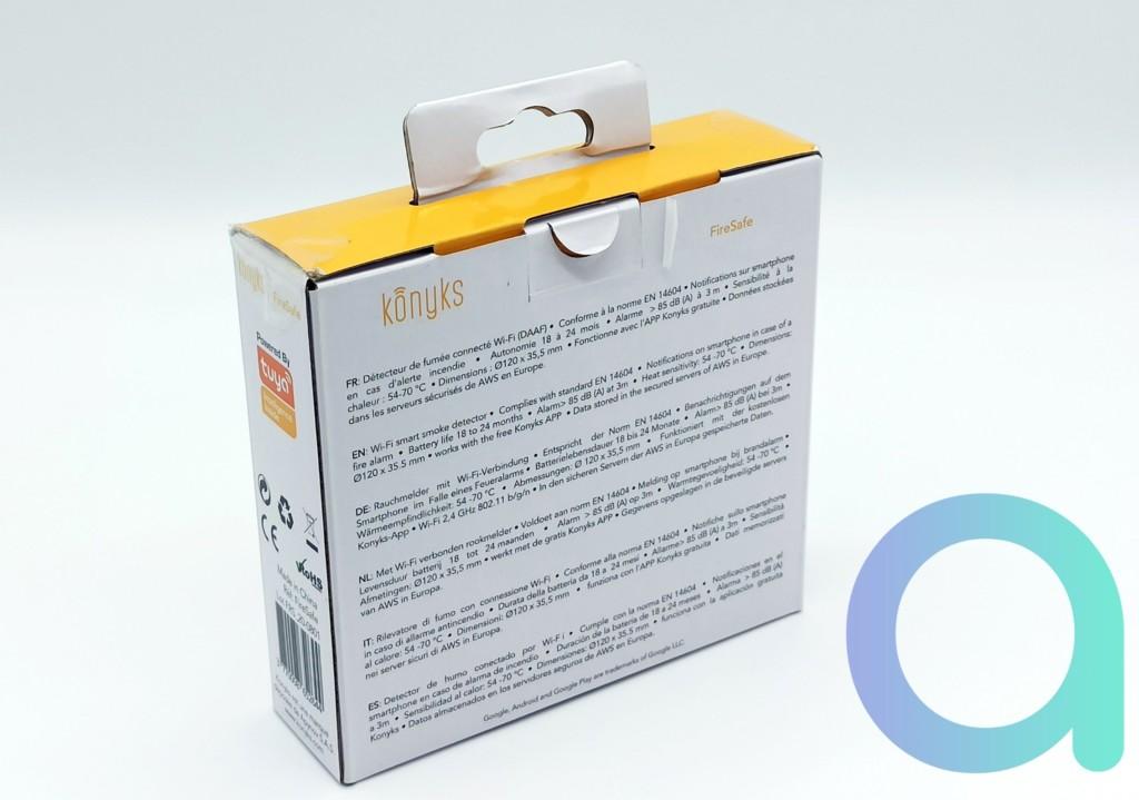 Face arrière du packaging du détecteur de fumée connecté Konyks FireSafe