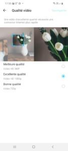 Menu Qualité vidéo de l'application Tapo pour la caméra C310