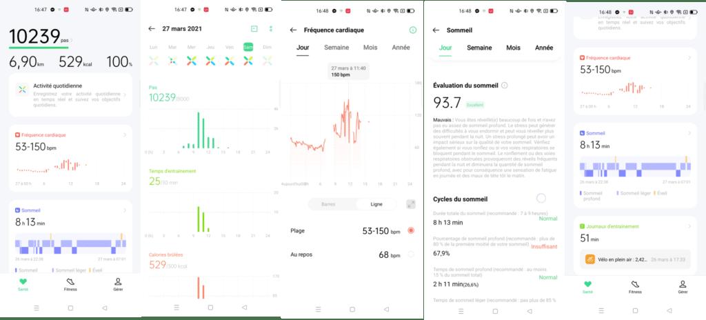 Menu paramètres sport de la montre connecté Oppo Watch LTE