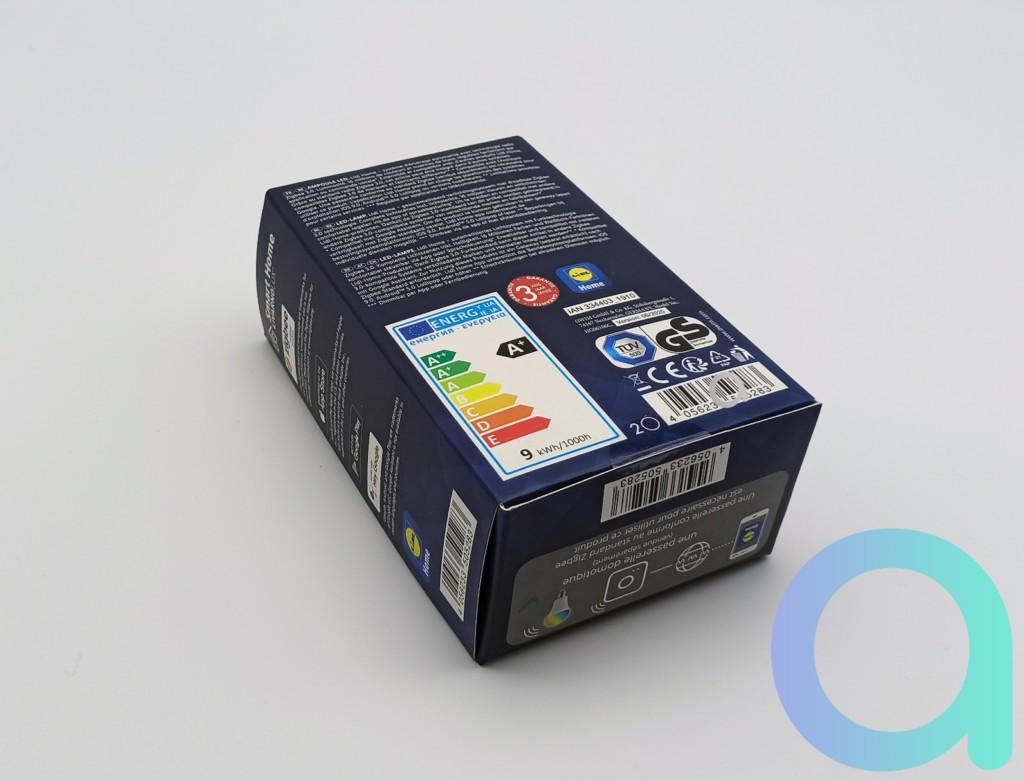 Packaging arrière ampoule connectée E27 Livarno Lux de Lidl