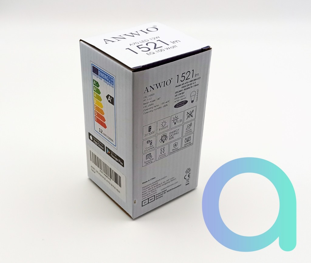 Packaging arrière de l'ampoule LED E27 12W Anwio