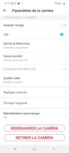 Page Paramètres application Tapo
