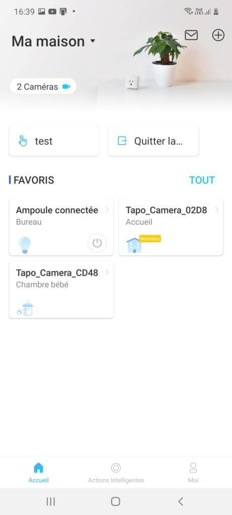 Page d'accueil de l'application Tapo avec intégration de la caméra connectée extérieure C310