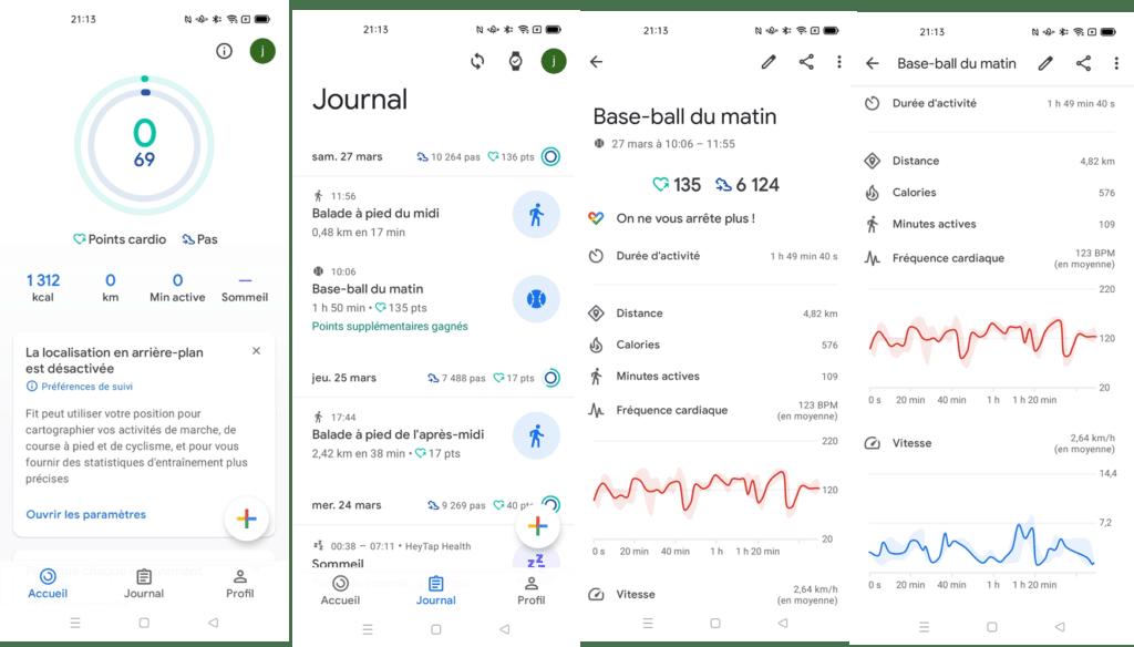 Page de menu sport dans l'application Google Fit