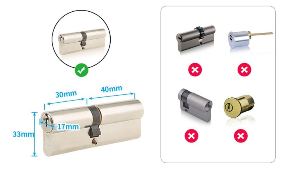 Shéma des barillets compatibles avec la srrure connectée We.lock