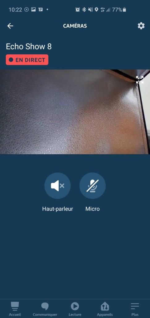 Affichage du live dans l'application Alexa