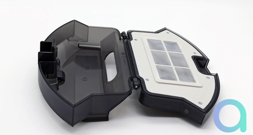 compartiments bac à poussières et à filtre de l'aspirateur connecté Ultenic D5S Pro