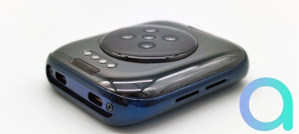 dessous du cadran de la montre conncetée Oppo Watch LTE avec les capteurs LED