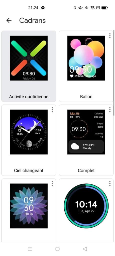 différents types d' affichage d'horloge pour la montre connectée Oppo Watch LTE