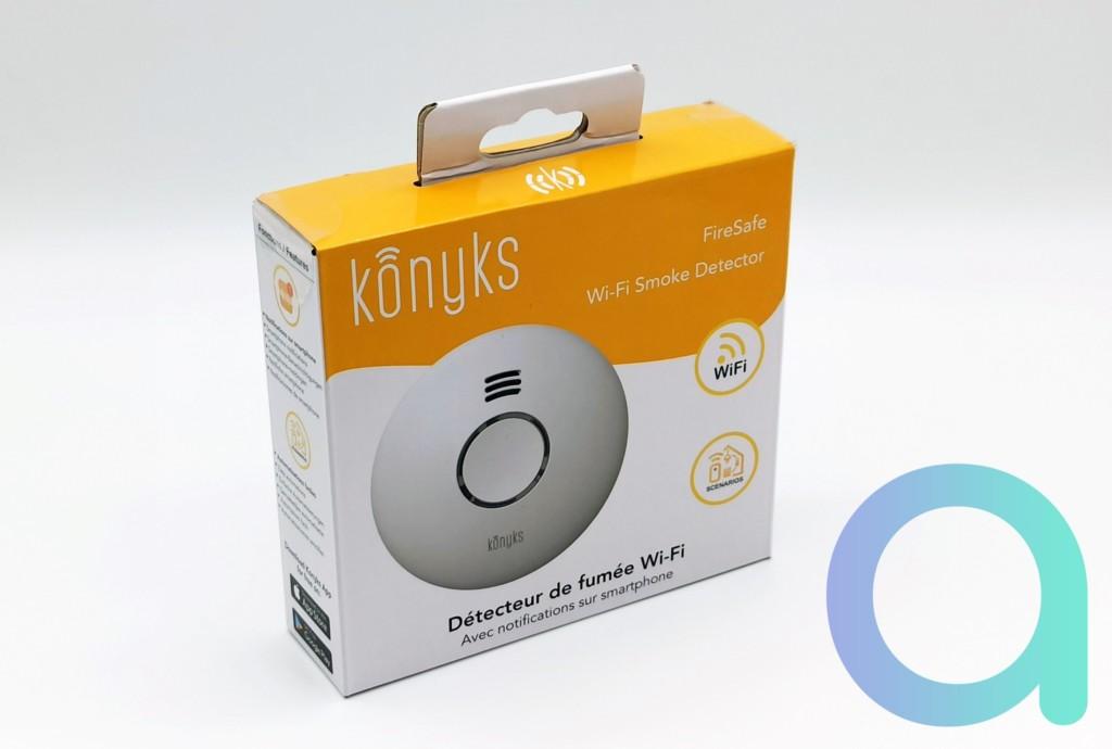 face avant du packaging du détecteur de fumée connecté Konyks fireSafe