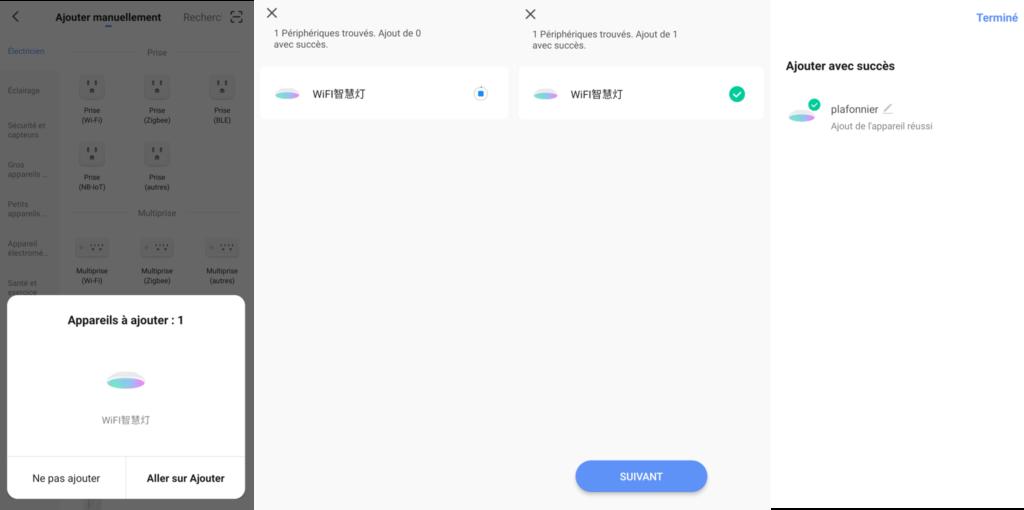 intégration du plafonnier connecté Wi-Fi AQOTER à l'application Smart Life
