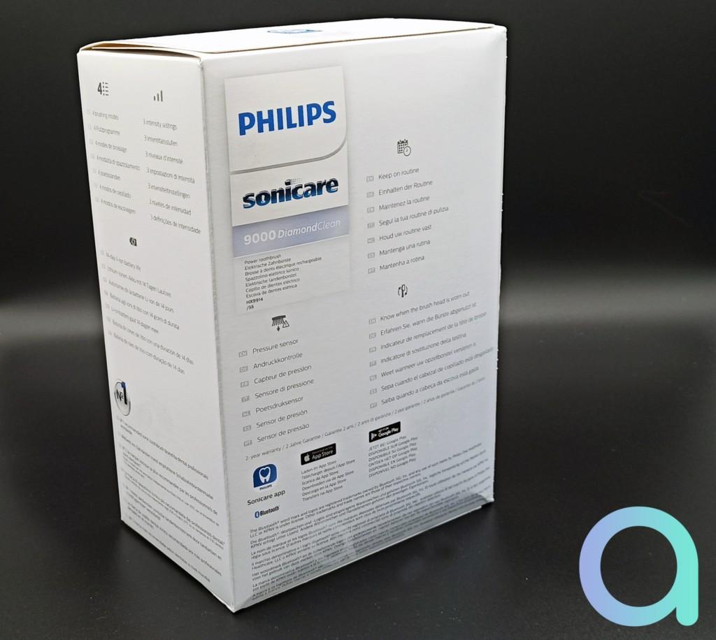 packaging arrière de la philips Soncare Diamond Brose a dents 9000 Diamond clean