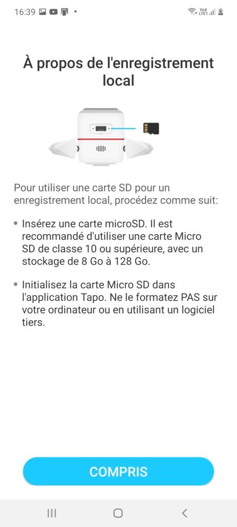 rappel pour le stockage sur carte micro SD pour la caméra Tapo C310