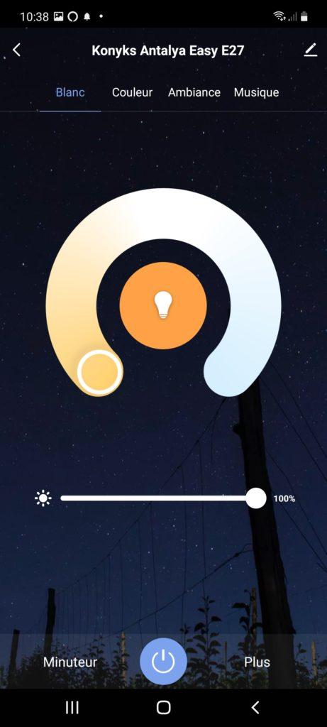 Allumage de l'ampoule an blanc chaud
