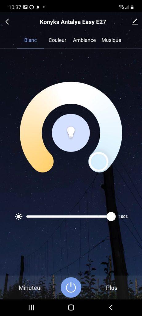 allumage de l'ampoule en blanc froid