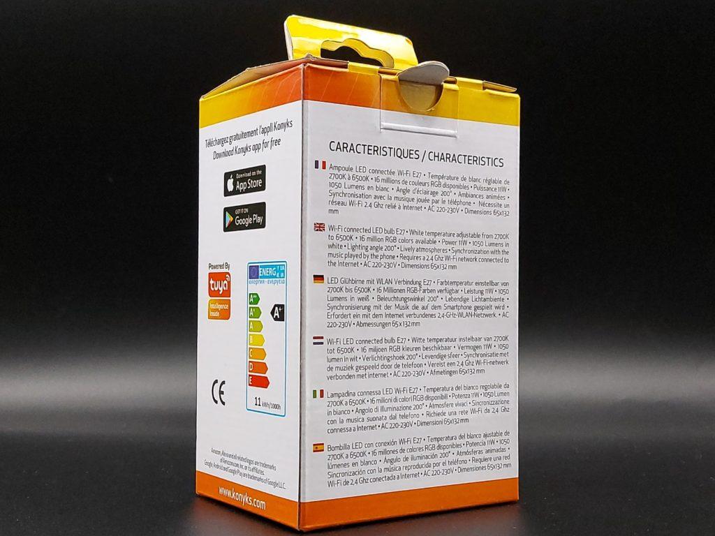 Packaging arrière de l'ampoule connectée Konyks Antalya Easy E27 compatible Amazon Alexa et Google Assistant