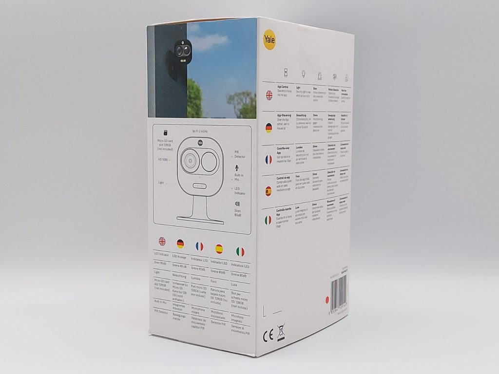 Packaging arrière de la caméra connectée Wi-Fi Light and Siren de Yale