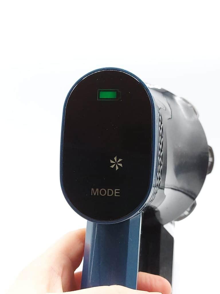 batterie pleine et Mode Max sur l'écran tactile de l'aspirateur balai Proscenic P10 Pro