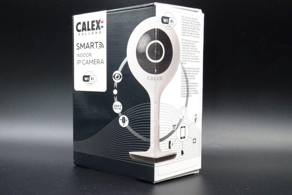 Packaging de la caméra d'intérieur Calex avec les principales fonctionnalités