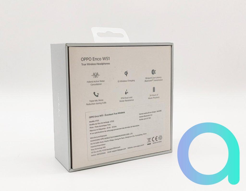 Packaging arrière des écouteurs ENCO OPPO W51
