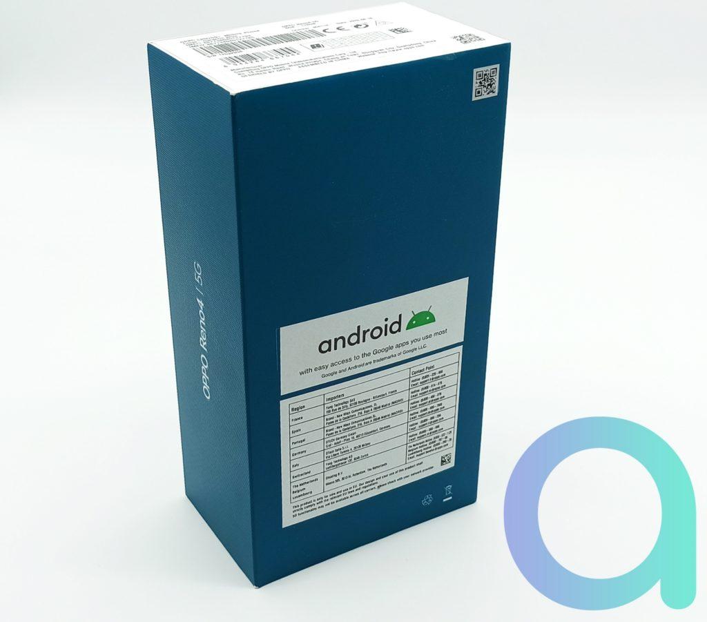 Pakaging arrière du Smartphone d'OPPO le Reno4 compatible 5G