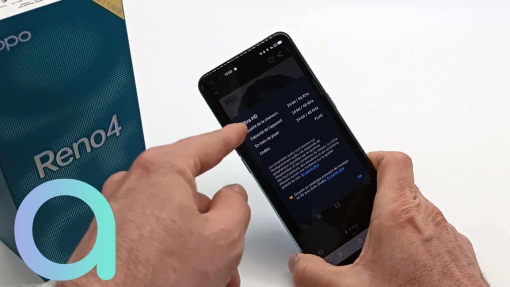 Pise en compte de fonction Hi-Res audio par le smartphone OPPO Reno4