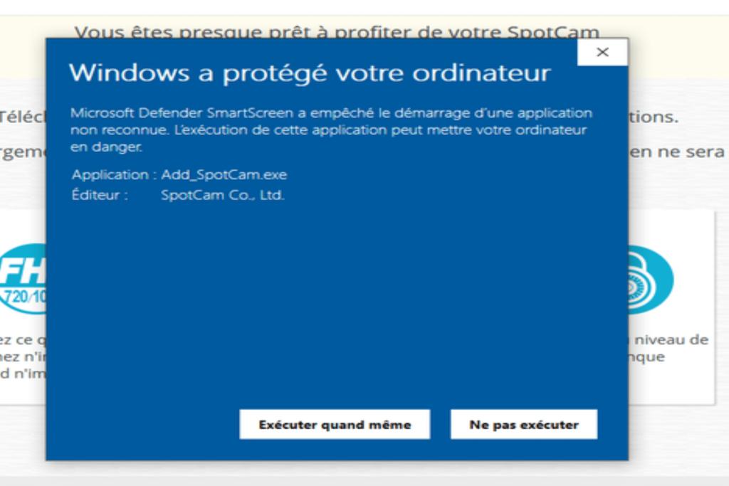 message d'avertissement de Windowe pour l'exécution du fichier Add SpotCam