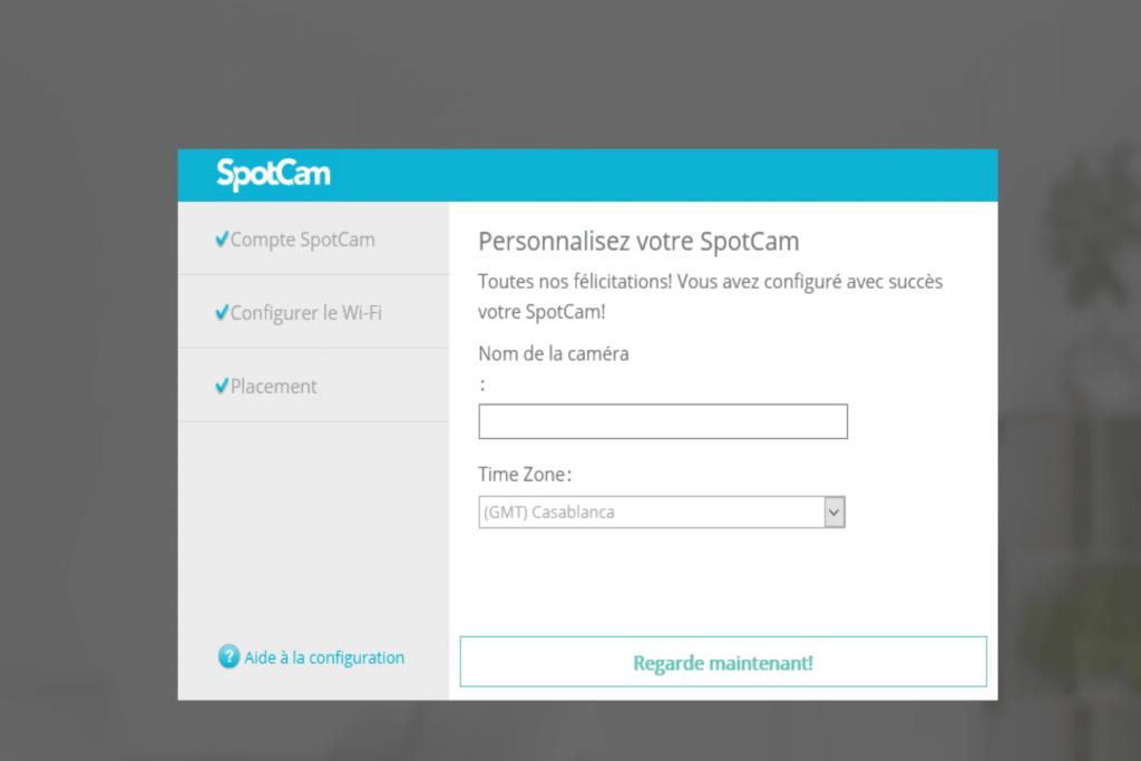 Enregistrement d'un nom et du fuseau horaire pour la caméra SpotCam Eva 2