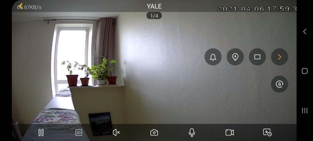affichage mode paysage de jour de la caméra de porte Yale sur l'application