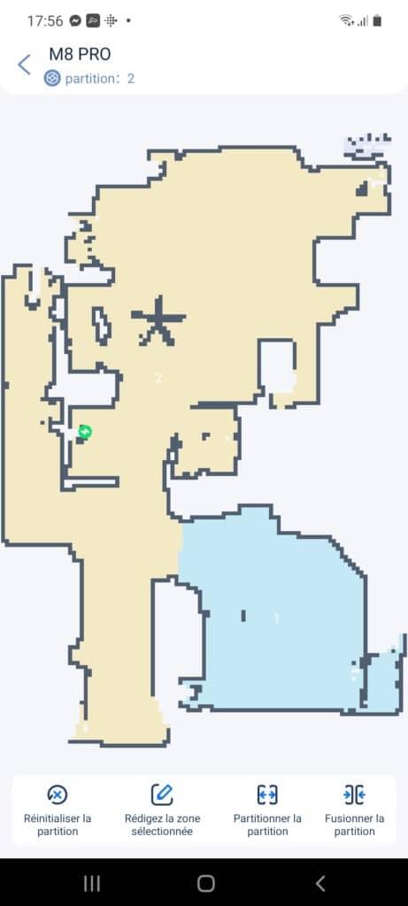 Seule 2 zones ont été définies par l'aspirateur